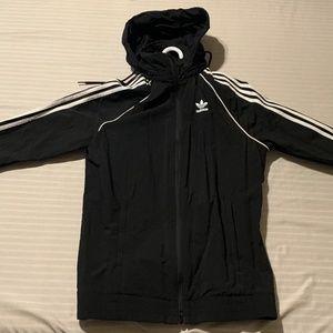 Addidas 3 stripe black zip up sweater with hood